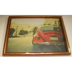 Cadre sous verre décoration voiture style vintage idée cadeau original anniversaire emballé neuf