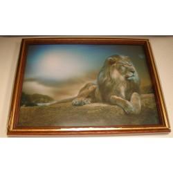 Cadre sous verre décoration lion savane coucher soleil idée cadeau original anniversaire emballé neuf