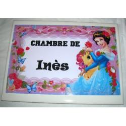 Décoration Chambre d' Inès princesse sur faience idée cadeau naissance anniversaire noël neuve emballée