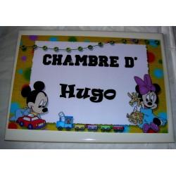 Décoration Chambre d'Hugo mickey sur faience idée cadeau naissance anniversaire noël neuve emballée