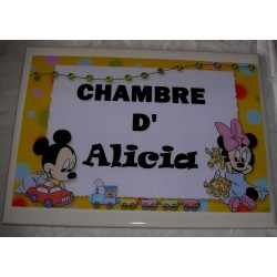 Décoration Chambre d'Alicia Mickey sur faience idée cadeau naissance anniversaire noël neuve emballée
