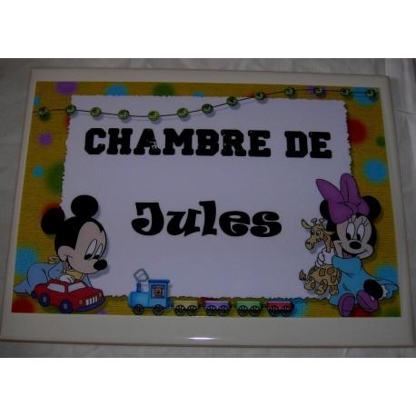 Chambre de Jules Mickey sur faience idée cadeau naissance anniversaire neuf emballé