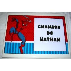 Décoration Chambre de Nathan Spiderman sur faience idée cadeau naissance anniversaire neuve emballée