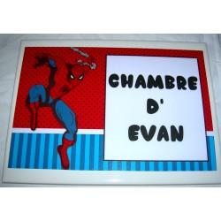 Décoration Chambre d'Evan Spiderman sur faience idée cadeau naissance anniversaire neuve emballée