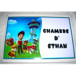 Décoration Chambre d' Ethan Pat Patrouille Paw Patrol sur faience idée cadeau naissance anniversaire neuve emballée