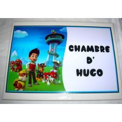 Décoration Chambre d' Hugo Pat Patrouille Paw Patrol sur faience idée cadeau naissance anniversaire neuve emballée