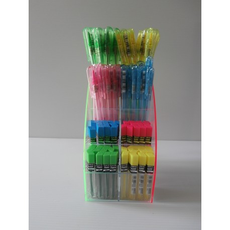 Crayon critérium Pentel rose avec mines fluorescentes - Neuf - 1.3 mm