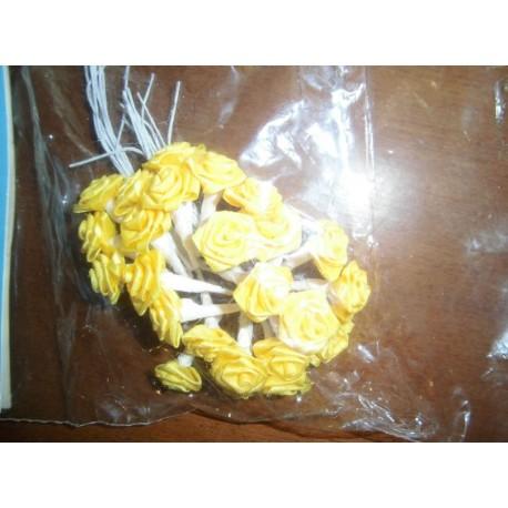 Mini rose jaune déco fêtes mariage baptemes anniversaire neuf x 24 pièces