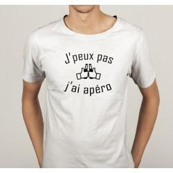 TRANSFERT TEXTILE TEE SHIRT HUMORISTIQUE HOMME J'PEUX PAS J'AI APERO NEUF