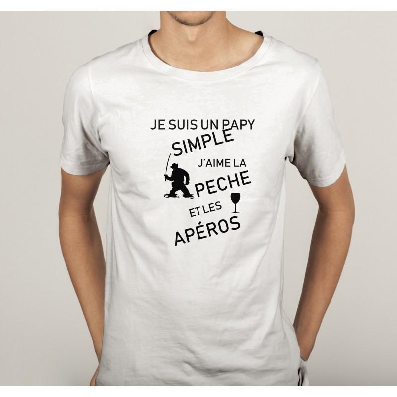 transfert textile tee shirt humoristique homme papy simple peche apero. Black Bedroom Furniture Sets. Home Design Ideas