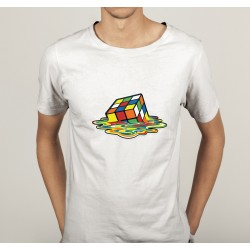 TRANSFERT TEXTILE TEE SHIRT HUMORISTIQUE HOMME rubik's cube en train de fondre NEUF