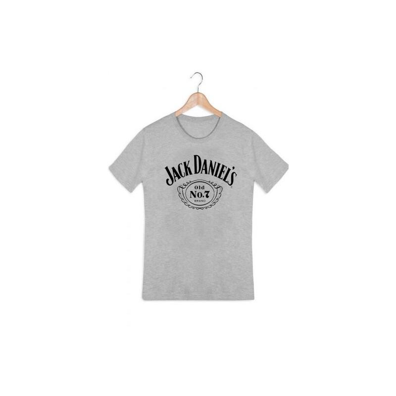 3536b22e5c3f1 T shirt Femme ados col rond manches courtes JACK DANIELS GRIS du XS au XL  vêtement. Loading zoom