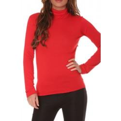 T shirt Sous pull col roulé pour femme rouge vêtement femme anniversaire cadeau neuf