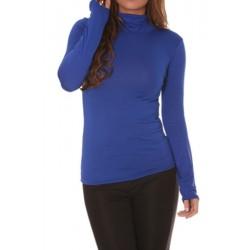 T shirt Sous pull col roulé pour femme bleu vêtement femme anniversaire cadeau neuf