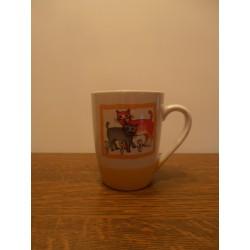 tasse mug avec anse déco chatons céramique blanche/jaune tbe