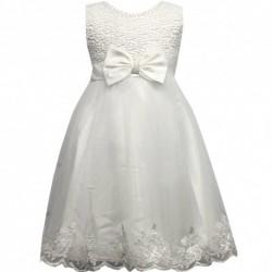 Robe de ceremonie fille blanche noeud du 4 au 14 ans vêtement bapteme mariage enfant idée cadeau neuf