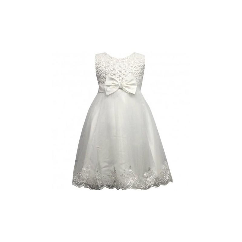 e362691bdd8a3 Robe de cérémonie fille blanche noeud du 4 au 14 ans vêtement bapteme  mariage communion enfant. Loading zoom