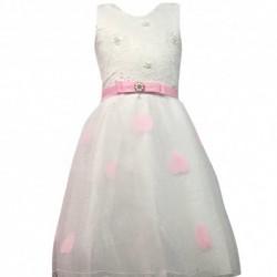 Robe de ceremonie fille rose et blanche du 4 au 14 ans vêtement bapteme mariage enfant idée cadeau neuf