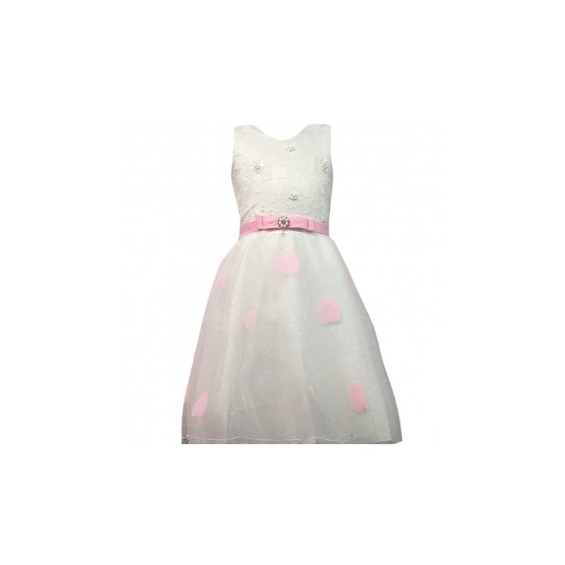 90c0746d56d4c Robe de cérémonie fille rose et blanche du 4 au 14 ans vêtement bapteme  mariage communion. Loading zoom