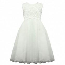 Robe de ceremonie fille blanche v04 du 4 au 14 ans vêtement bapteme mariage communion enfant neuve