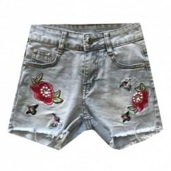 Short en jean pour fille detail brodé fleurs rouges du 4 au 14 ans vêtement enfant idée cadeau anniversaire neuf