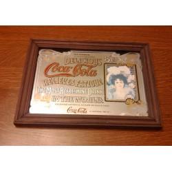 ancien cadre miroir publicitaire coca cola contour bois be
