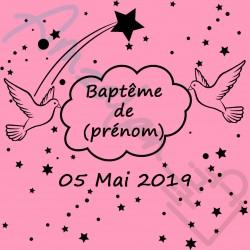 Décoration de table salle pour baptême fille rose déco colombes sur faïence originale neuf emballé