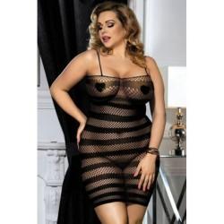 Lingerie sexy femme Nuisette Robe noire résille rayures XL/XXL grande taille coffret cadeau st valentin anniversaire neuve