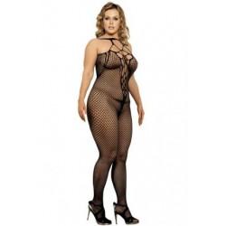 Lingerie sexy femme Bodystocking noire large résille XL/XXL grande taille coffret cadeau st valentin anniversaire neuve