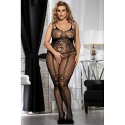 Lingerie sexy femme Bodystocking noire résille effet guêpière XL/XXL grande taille coffret cadeau st valentin anniversaire neuve