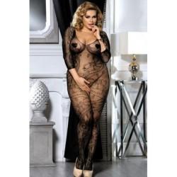 Lingerie sexy femme Bodystocking noire résille manches XL/XXL grande taille coffret cadeau st valentin anniversaire neuve