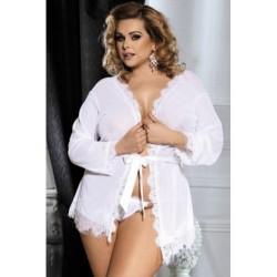 Lingerie sexy Superbe déshabillé blanc du XL au 4XL grande taille coffret cadeau st valentin anniversaire neuve