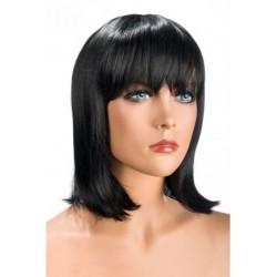 Perruque Camila Brune frange douceur au toucher semblable au cheveux véritable coffret looks glamour, coquin neuve