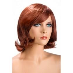 Perruque Victoria mi long Roux douceur au toucher semblable au cheveux véritable coffret looks glamour, coquin neuve