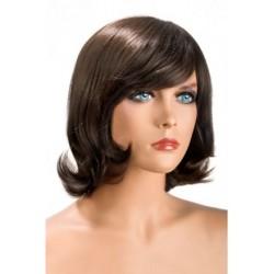Perruque Victoria mi long Chatain douceur au toucher semblable au cheveux véritable coffret looks glamour, coquin neuve
