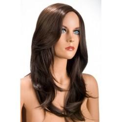 Perruque Olivia Longue Chatain douceur au toucher semblable au cheveux véritable coffret looks glamour, coquin neuve