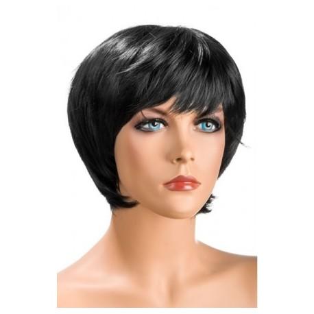 Perruque Sofia Courte Brune douceur au toucher semblable au cheveux véritable coffret looks glamour, coquin neuve