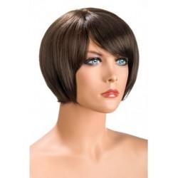 Perruque Mia Courte Chatain douceur au toucher semblable au cheveux véritable coffret looks glamour, coquin neuve