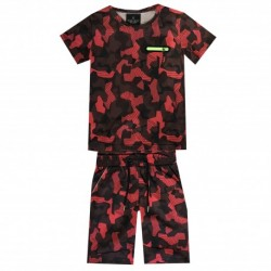 Ensemble T shirt et short imprimé militaire rouge garçon du 4 au 14 ans vêtement enfant anniversaire neuf
