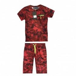 Ensemble T shirt et short imprimé militaire rouge v02 garçon du 4 au 14 ans vêtement enfant anniversaire neuf