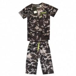 Ensemble T shirt et short imprimé militaire gris v02 garçon du 4 au 14 ans vêtement enfant anniversaire neuf