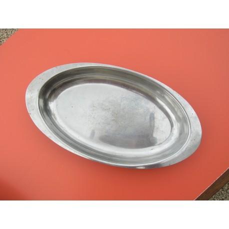 ancien plat inox creux ovale longueur 26.5 cm avec anses bon etat