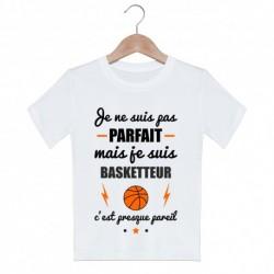 T shirt garçon blanc manche courte imprimé - Je ne suis pas parfait ....Basketteur du 3/4 au 9/11 ans enfant cadeau neuf