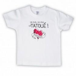 T shirt garçon blanc manche courte imprimé - Un dur , un vrai , un tatoué maman du 3/4 au 9/11 ans enfant cadeau neuf