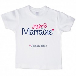 T shirt blanc manche courte imprimé - J aime ma marraine ... du 3/4 au 9/11 ans enfant cadeau neuf