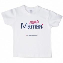 T shirt blanc manche courte imprimé - J aime ma maman ... du 3/4 au 9/11 ans enfant cadeau neuf