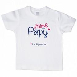 T shirt blanc manche courte imprimé - J aime mon Papy ... du 3/4 au 9/11 ans enfant cadeau neuf