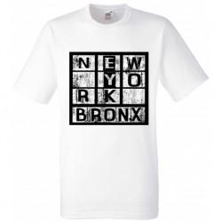 T shirt blanc manche courte imprimé - NEW YORK BRONX du 4/6 au 10/12 ans enfant cadeau neuf