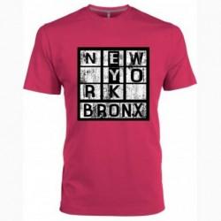 T shirt fuchsia manche courte imprimé - NEW YORK BRONX du 4/6 au 10/12 ans enfant cadeau neuf