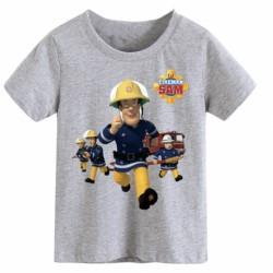 T shirt garçon gris manche courte - Fireman Sam le pompier du 3/4 au 9/11 ans enfant cadeau neuf